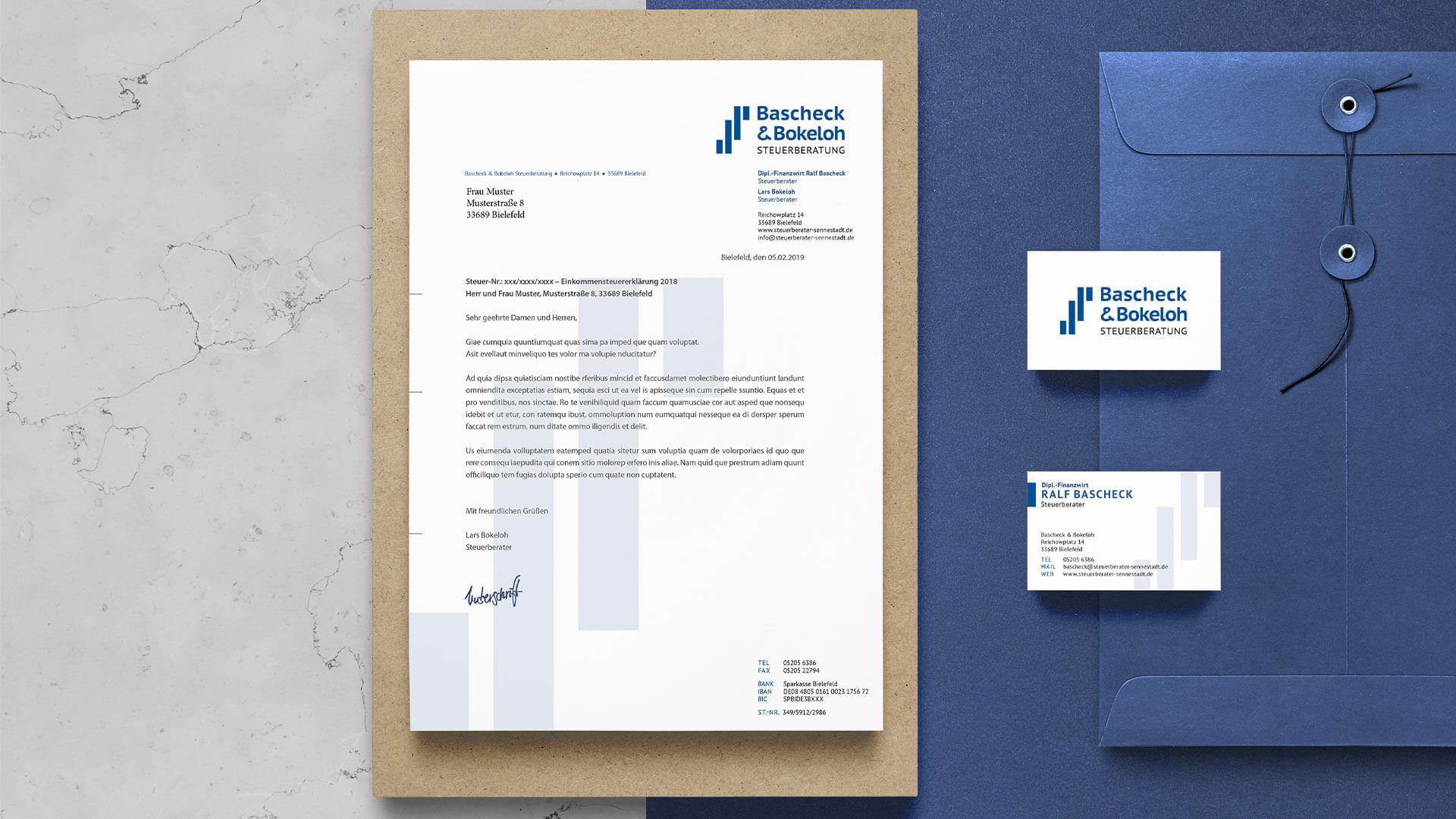 Corporate Design und Geschäftspapiere Bascheck & Bokeloh Steuerberatung